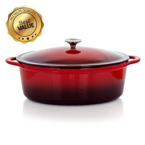 MegaChef 7 Quarts Oval Enameled Cast Iron Casserole in Red