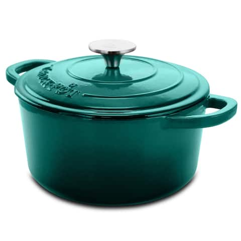 Crock-pot Artisan 3 Qt Enameled Cast Iron Casserole with Lid in Teal