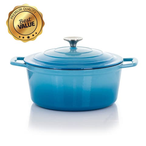 MegaChef 4 Quarts Round Enameled Cast Iron Casserole with Lid in Blue