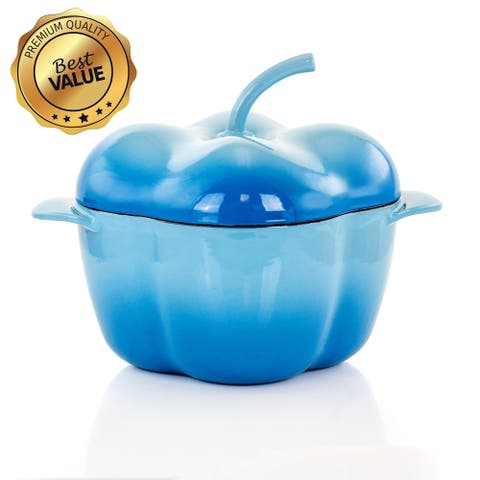 MegaChef Pepper Shaped 3 Quart Enameled Cast Iron Casserole in Blue