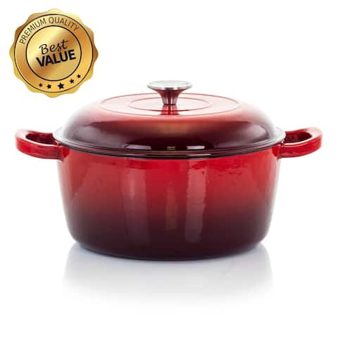 MegaChef 5 Quarts Round Enameled Cast Iron Casserole with Lid in Red