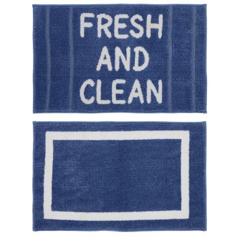 """Chesapeake MF Fresh & Clean Blue-White 2pc Bath Set(21""""x34"""" & 21""""x34"""")"""