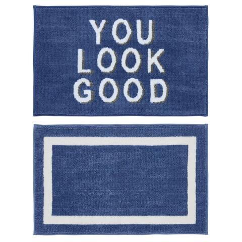"Chesapeake MF Look Good Blue-White 2pc Bath Set (21""x34"" & 21""x34"")"