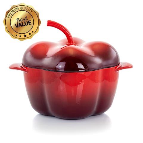 MegaChef Pepper Shaped 3 Quart Enameled Cast Iron Casserole in Red