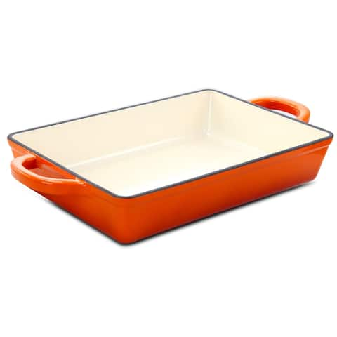 Crock-Pot Artisan 13in Enameled Cast Iron Lasagna Pan in Sunset Orange