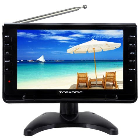 "Trexonic Ultra Lightweight Rechargeable Widescreen 9"" Portable LCD TV"