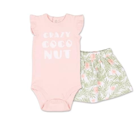 The Peanutshell Tropical Girl Crazy Coconut Bodysuit and Skirt Set-NB