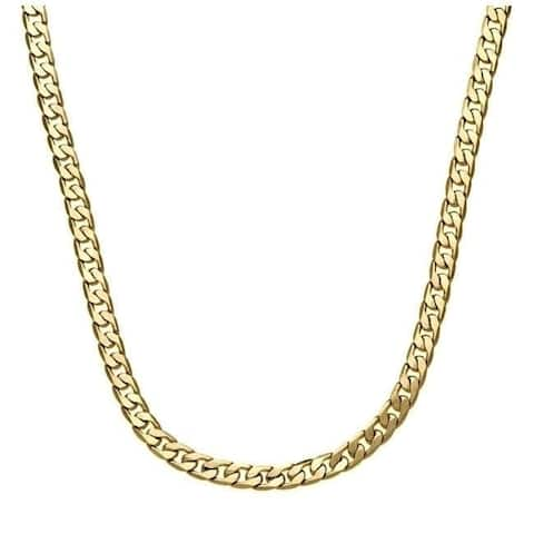 24-Inch Cuban Link Chain Yellow Gold / Silver Overlay by Simon Frank Designs (7mm)