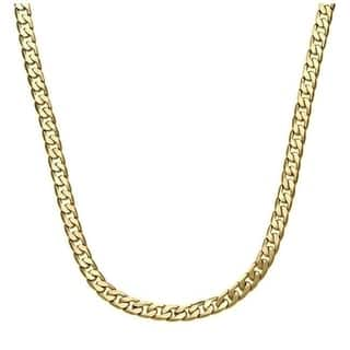 Simon Frank Designs 7mm Cuban Necklace (24-inch) Yellow Gold or Silver Overlay|https://ak1.ostkcdn.com/images/products/3074167/P11209928.jpg?impolicy=medium
