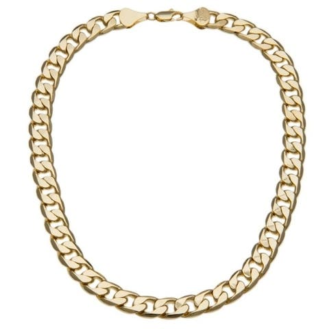 12mm Cuban Link Necklace (Yellow Gold / Silver Overlay) by Simon Frank Designs (20-inch)