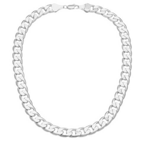12mm Silver Overlay 20-Inch Cuban Link Necklace (20-inch)