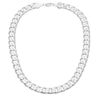 "Simon Frank Designs 12mm ""BOLD' Silver Overlay Cuban Necklace (20-inch)"