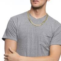 Simon Frank Designs 12mm Silver Overlay  Cuban Necklace (24-inch)