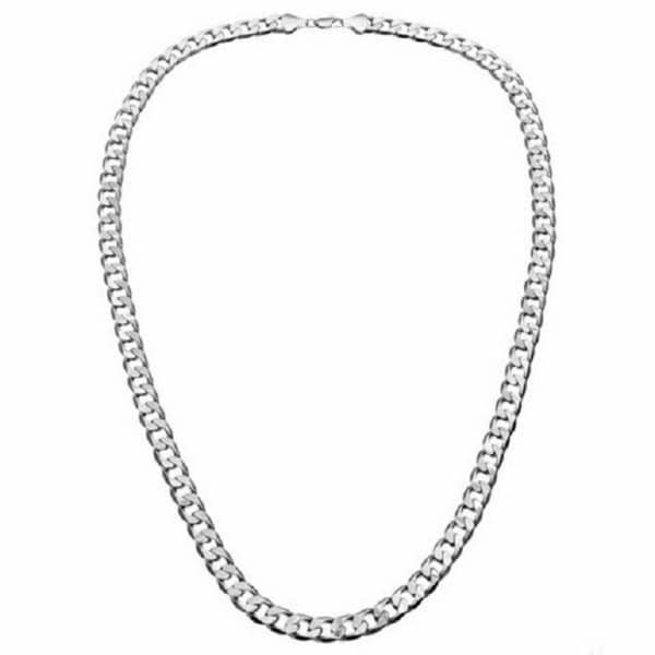 Simon Frank 14k White Gold Overlay 12mm Cuban Necklace (30-inch)