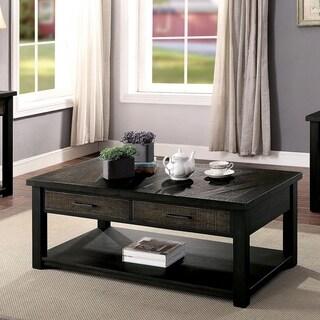 Furniture of America Jacob Transitional Dark Oak 2-Drawer Coffee Table