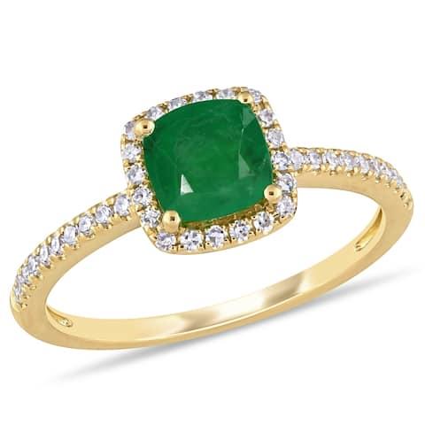 Miadora 14k Yellow Gold Cushion-cut Emerald & 1/5ct TDW Diamond Halo Engagement Ring