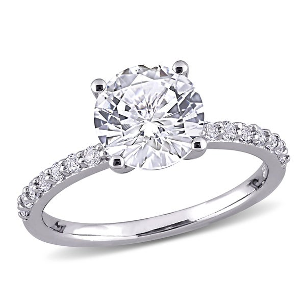 Miadora 10k White Gold Created White Sapphire Solitaire Engagement Ring. Opens flyout.