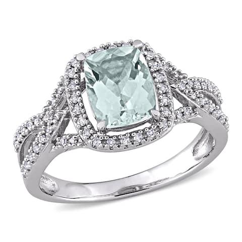 Miadora 10k White Gold Cushion Aquamarine & 1/6ct TDW Diamond Halo Split Shank Engagement Ring
