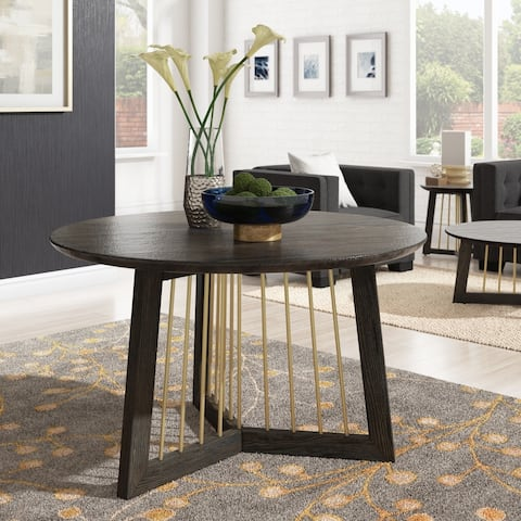 """Steinn Antique Gold Finished Metal and Reclaimed Wood 48"""" Round Dining Table by iNSPIRE Q Bold - Antique Gold"""