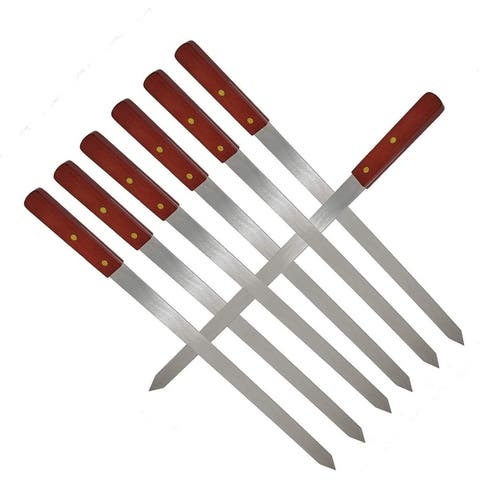 BBQ Skewers for Shish Kebab Turkish Grills & Koubideh Brazilian BBQ - 23 Inch x 1 Inch Wide with Wood Handle