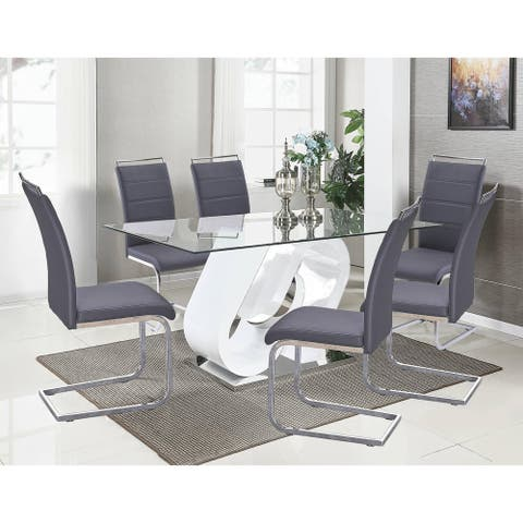 Best Quality Furniture 7-Piece White Lacquer Base and Glass Table with 6 Side Chairs