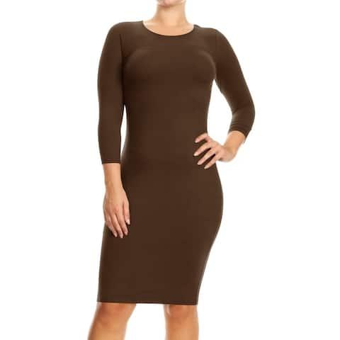 Women's Solid Crew Neck Midi Slim Bodycon Dress