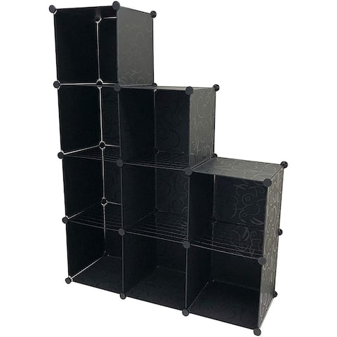 9 Cube Grid Wire & Storage Shelves, Black - 4 Tier Bookcase Cabinet