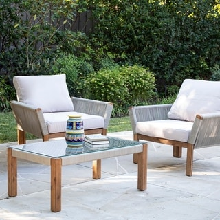 Link to Belen Natural Wood Armchair w/ Cushions (Set of 2) by Havenside Home Similar Items in Patio Furniture