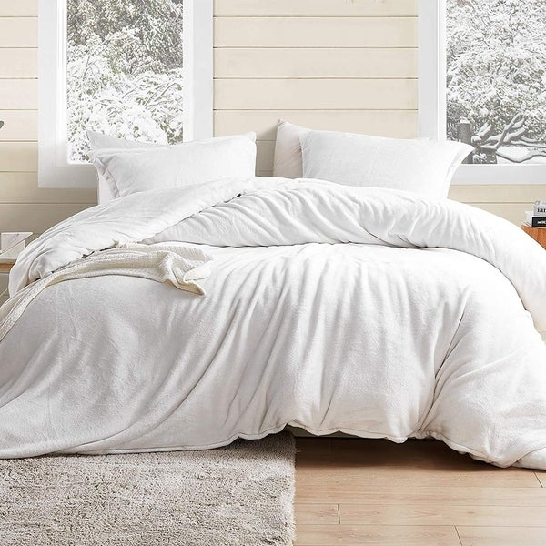 Coma Inducer Oversized Queen/Standard Sham Duvet Cover - Wait Oh What - Farmhouse White (As Is Item). Opens flyout.