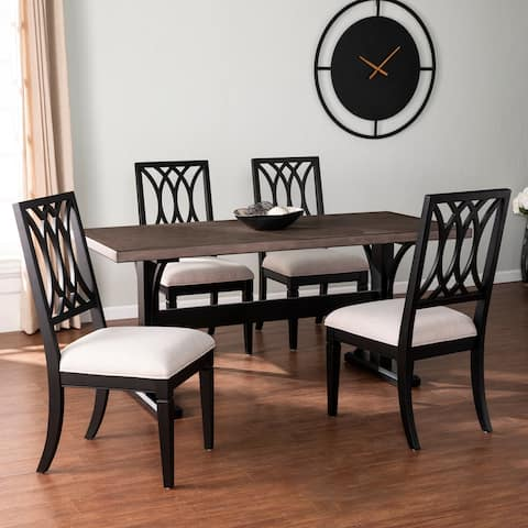 The Gray Barn Bian Modern Farmhouse Black Wood Dining Set (Set of 5)