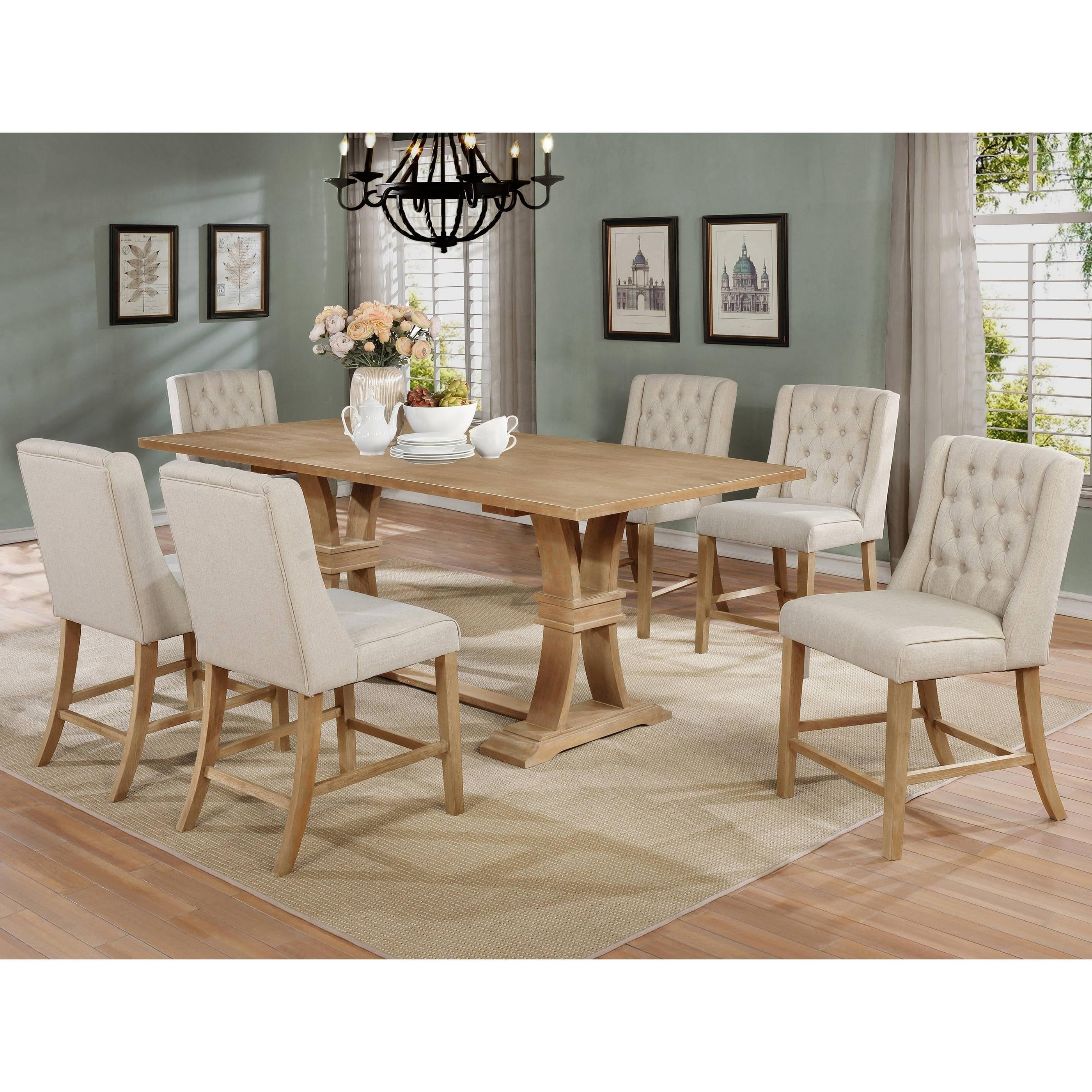 Best Quality Furniture 7 Piece Counter Height Dining Set W 6 Counter Height Chairs Overstock 30742519