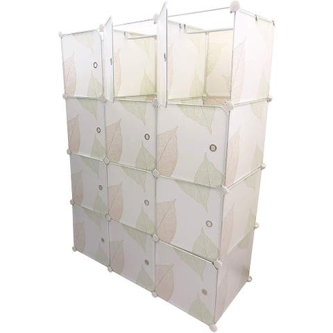 12 Storage Cube Organizer Wardrobe Modular Closet - Cubby Shelving Storage Unit - White