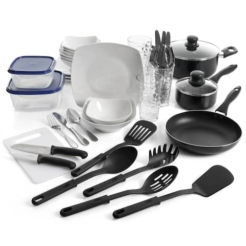 "Gibson All U Need 45 Piece Dinnerware Cookware Combo Set in White - 7'6"" x 9'6"""
