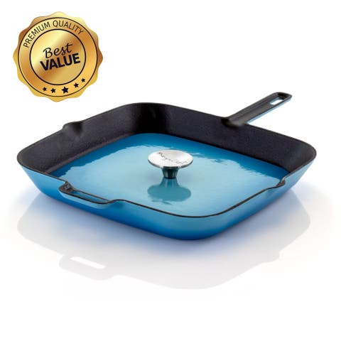 MegaChef 14 Inch Square Enamel Cast Iron Grill Pan in Blue with Press