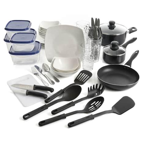 "Gibson All U Need 45 Piece Dinnerware Cookware Combo Set in White - 7'6"" x 9'6"""
