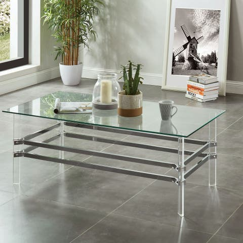 Furniture of America Thruston Contemporary Chrome Coffee Table