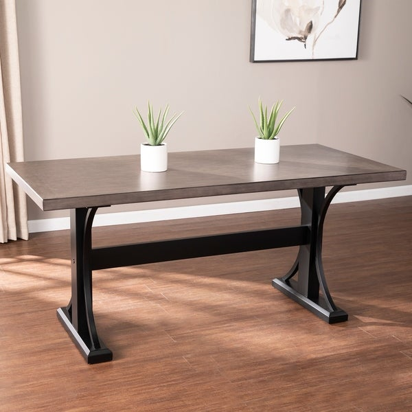 The Gray Barn Bian Transitional Gray Wood Dining Table. Opens flyout.