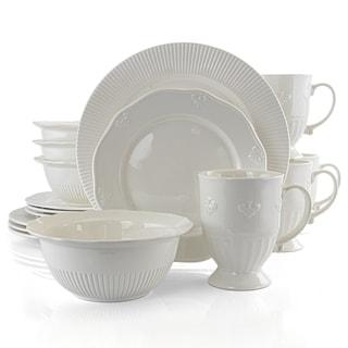 Gibson Home Scallop Crest 16Pc Fine Ceramic Dinnerware Set White