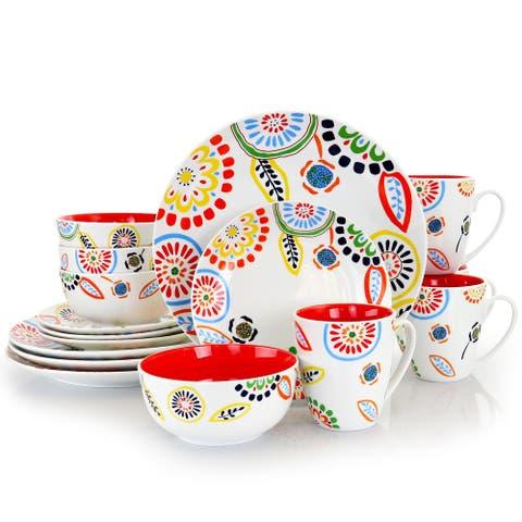 Gibson Home Colorful Bazaar 16Pc Fine Ceramic Dinnerware Set RedOrange