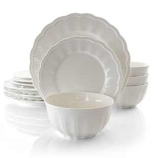 Gibson Ultra 12 Piece Scalloped Fine Ceramic Dinnerware Set in White