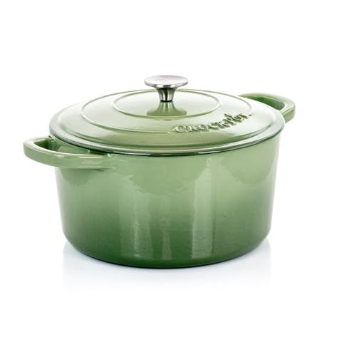 Crock-Pot Artisan 2Pc 7Qt Enamled Cast Iron Dutch Oven Pistachio Green