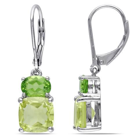 Miadora Sterling Silver Lemon Quartz and Peridot Earrings