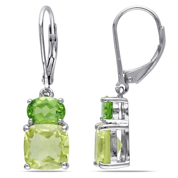 Miadora Sterling Silver Lemon Quartz and Peridot Earrings