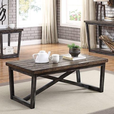 Furniture of America Imran Industrial Dark Oak Coffee Table