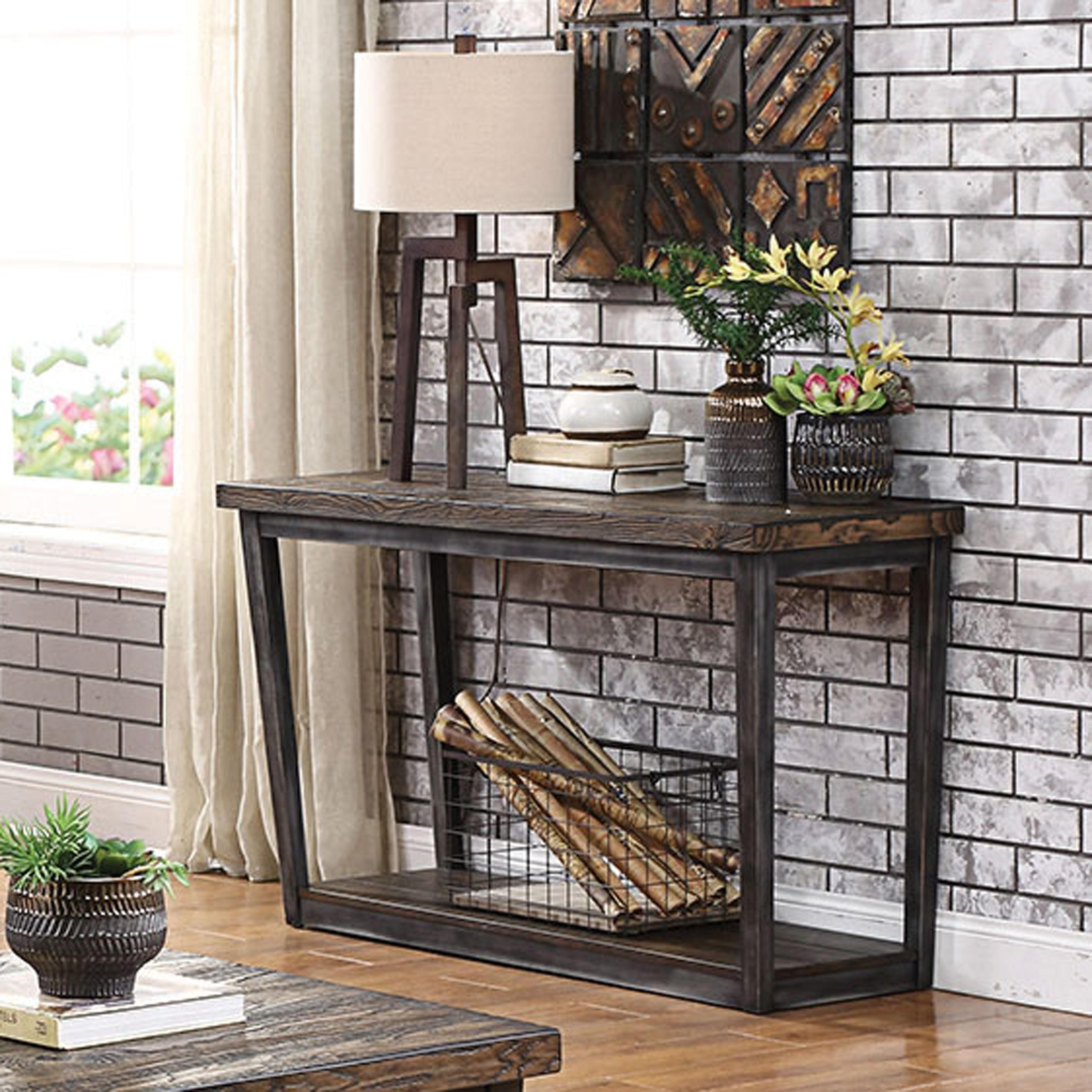- Shop Furniture Of America Imran Industrial Dark Oak Sofa Table
