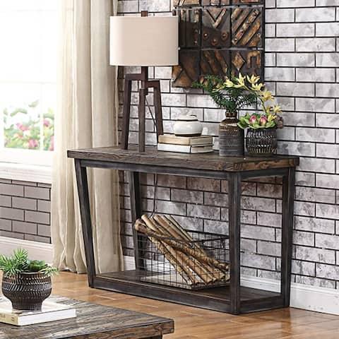 Furniture of America Imran Industrial Dark Oak Sofa Table