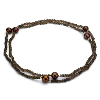 DaVonna 14k Gold Smokey Quartz and Brown FW Pearl 36-inch Endless Necklace