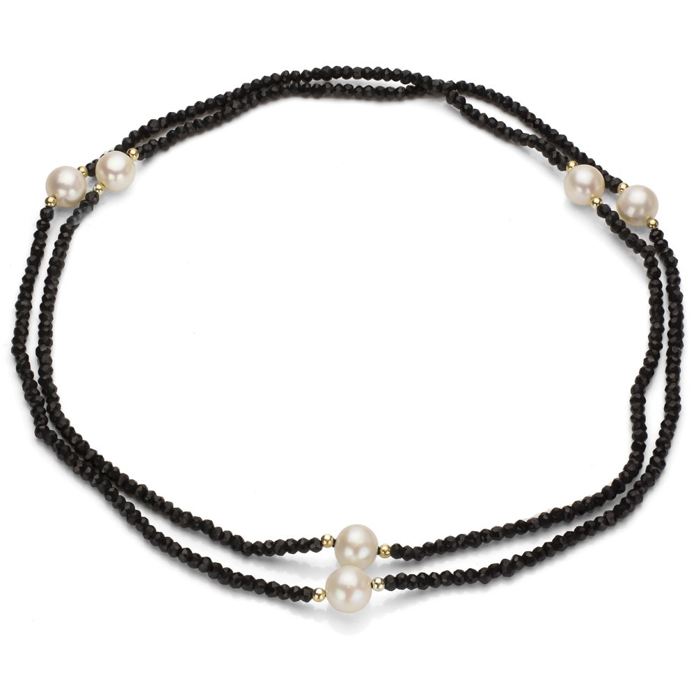DaVonna 14k Gold Onyx and White FW Pearl 36-inch Endless ...