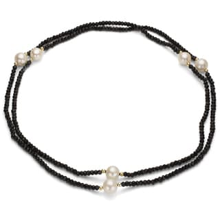 DaVonna 14k Gold Onyx and White FW Pearl 36-inch Endless Necklace (11-12 mm)