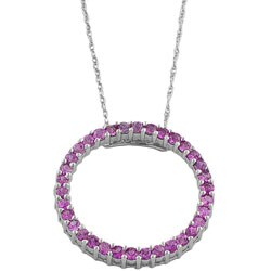 Fremada 14k White Gold Pink Sapphire Circle Necklace